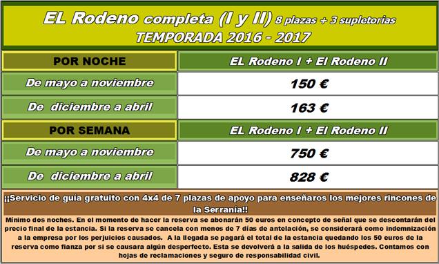 Tarifas El Rodeno Completo 2016