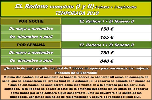 Tarifas Rodeno Completa - 2019